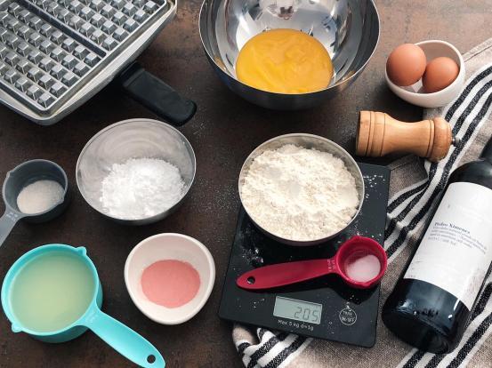 Ingredientes de la receta de gofres de calabaza con crema de caramelo al Pedro Ximénez